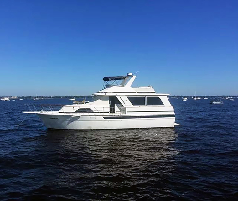 50' 1987 501 Chris Craft Connie.  This is a huge and roomy boat.